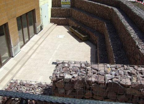 steinmauer, mauer, hang, naturstein, gabionen
