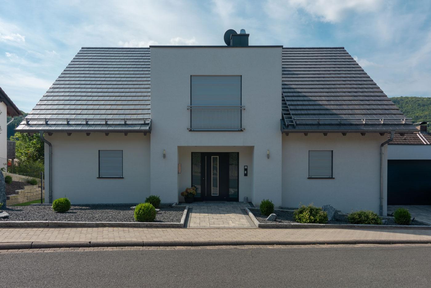 Einfamilienhaus, garten, Haus, bauen, rohbau, familie